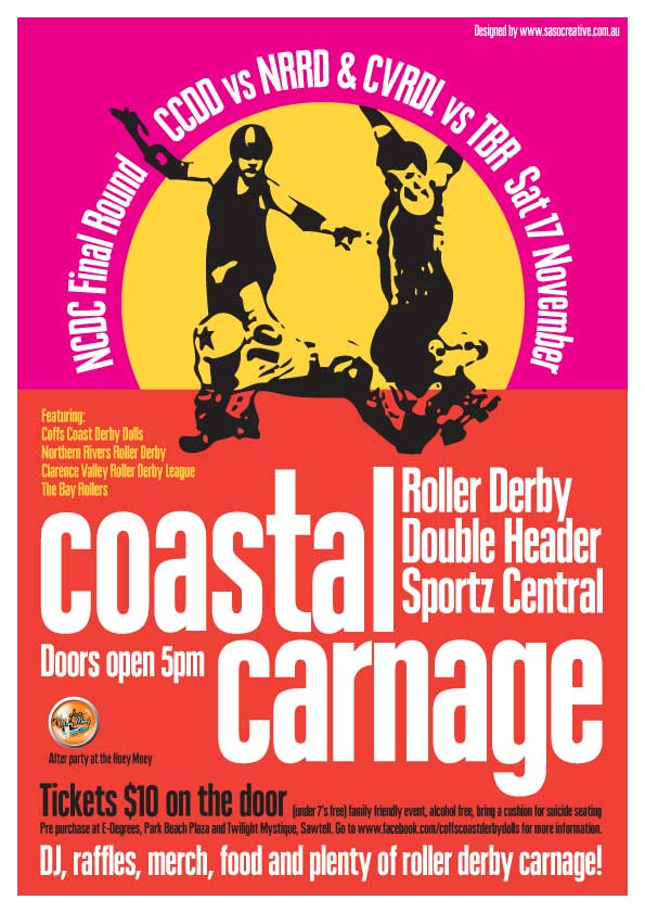 Coastal Carnage, roller derby event post