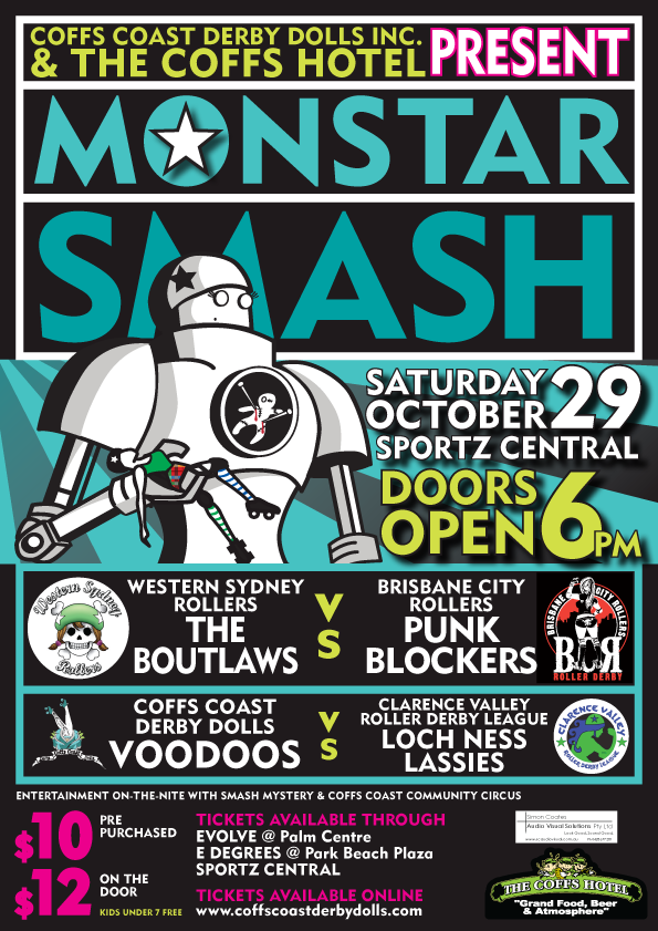 Monster Smash, roller derby event poster