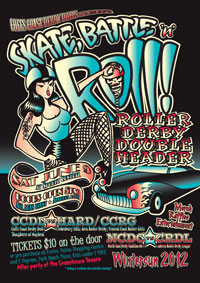 Skate, Rattle and Roll, roller derby event poster