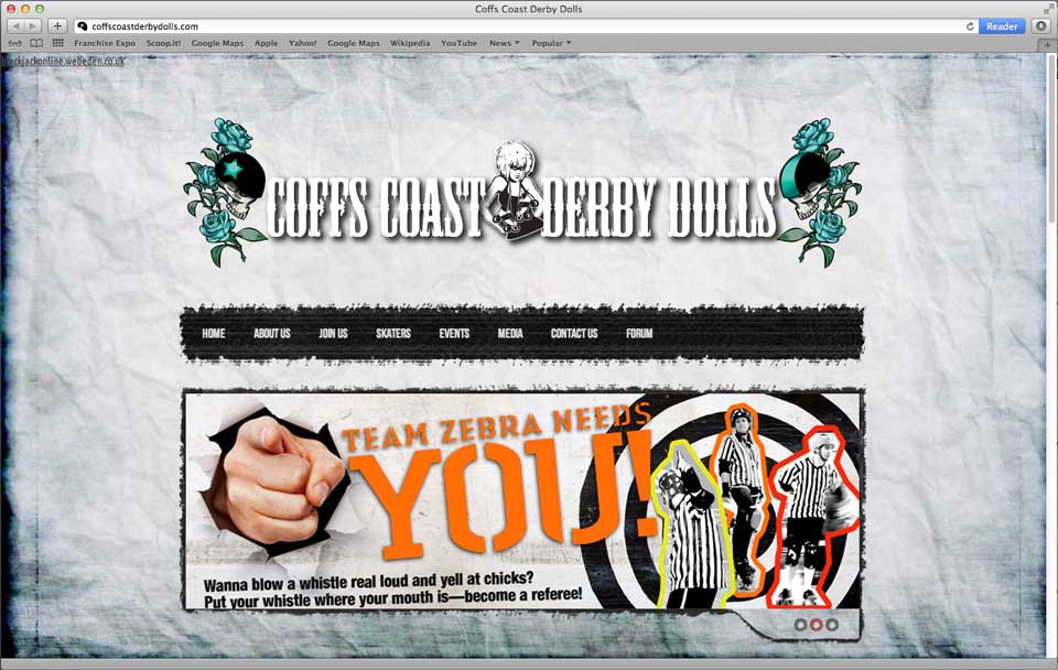 Coffs Coast Derby Dolls homepage screenshot. The Dolls needed a new website to improve external and internal communications: something, in short, that they and their sponsors and the community could be proud of
