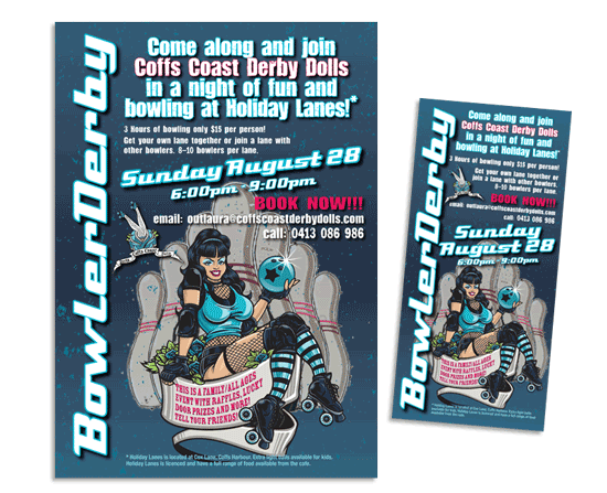 Bowler derby: Roller derby info night flyer