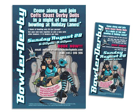 Bowler derby: Roller derby info night flyer