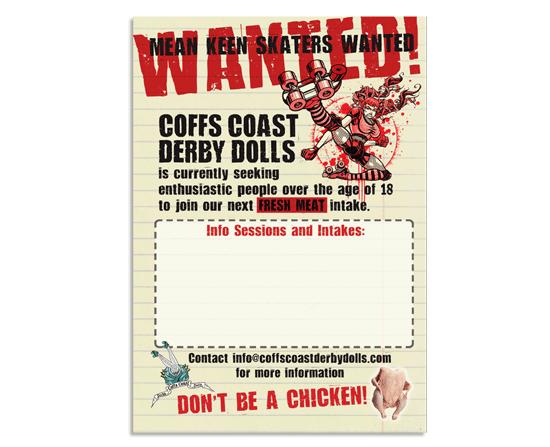 Roller derby recruitment /player intake flyer