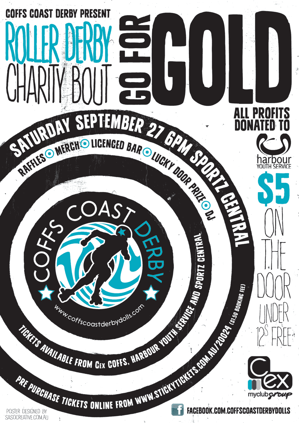 Coffs Coast Derby bout poster, Go For Gold, by saso.creative