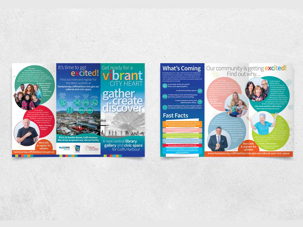 Trifold brochures for Coffs CIty Council's new civic space