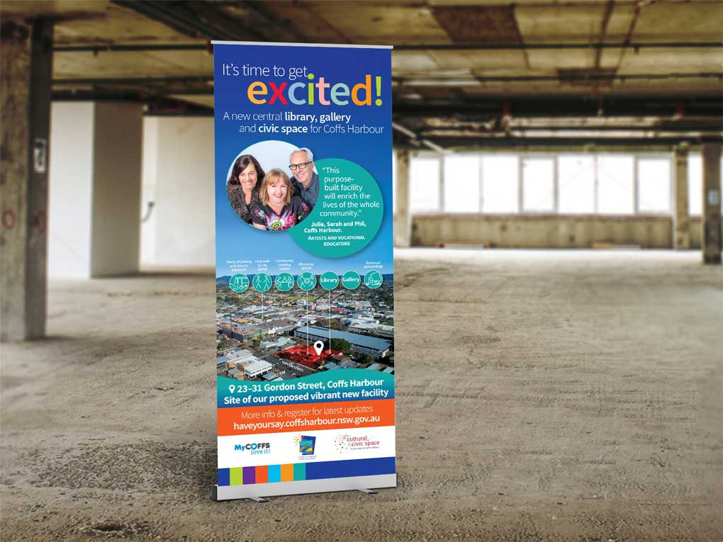 Pull up banner for Coffs City Council new civic space