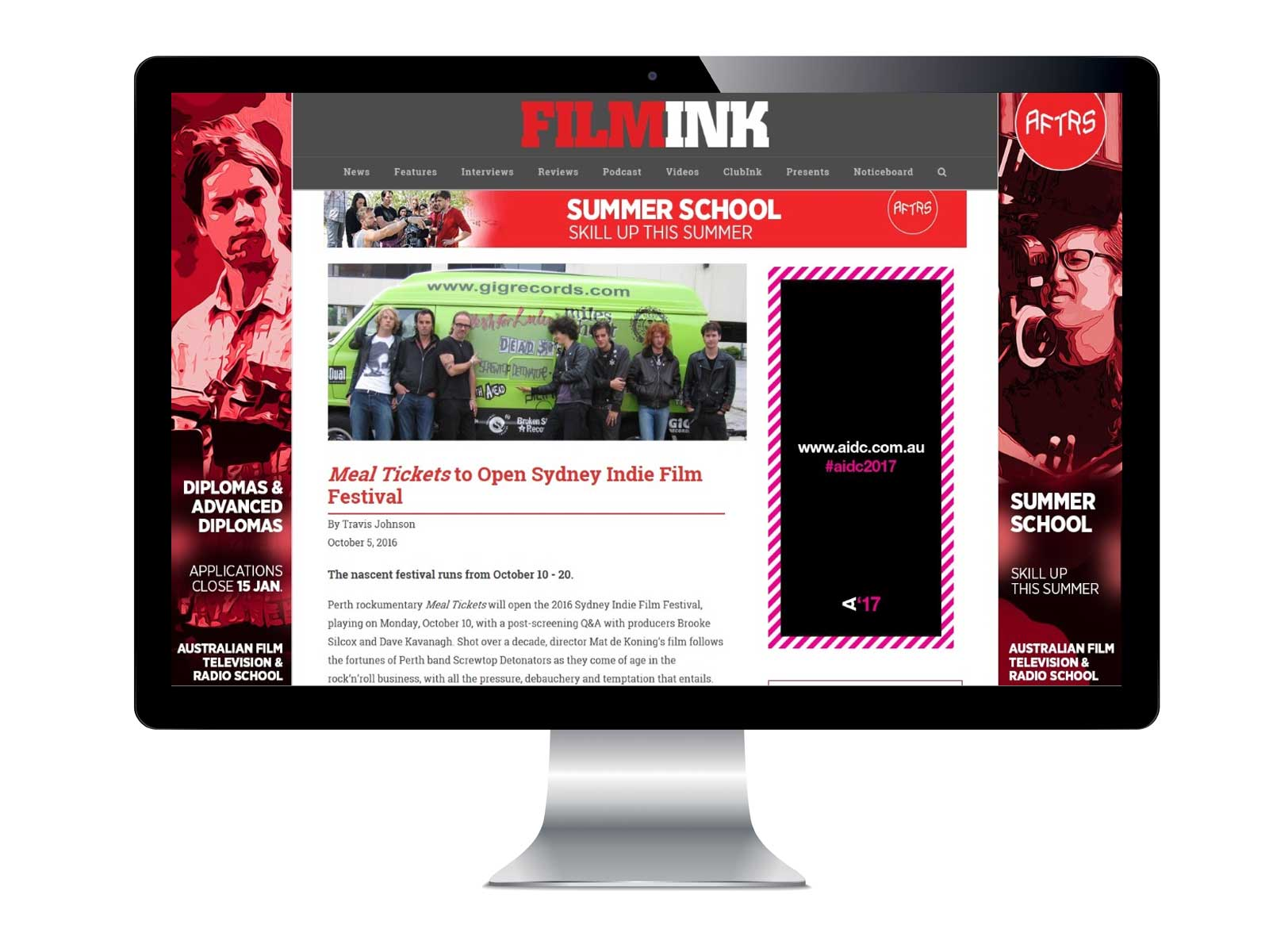 FilmInk Website Screen Sample